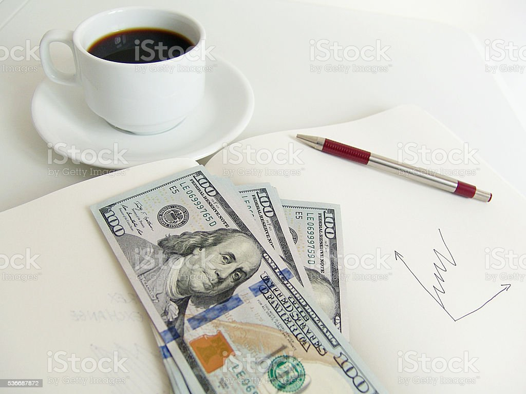 Working and earning money stock photo