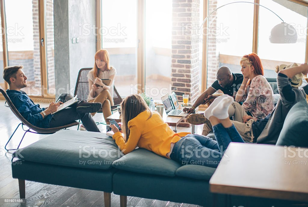 Working and playing under one roof stock photo