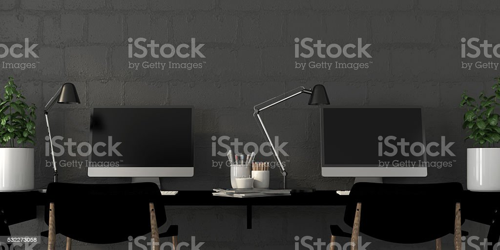 Working area in the interior stock photo