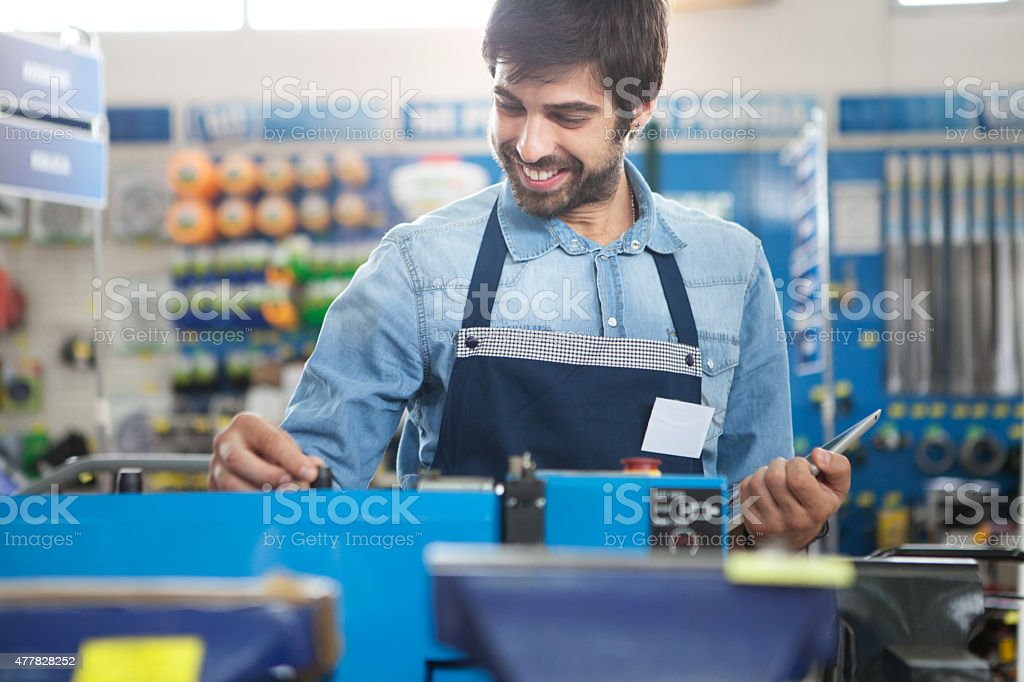 Working at a hardware store stock photo