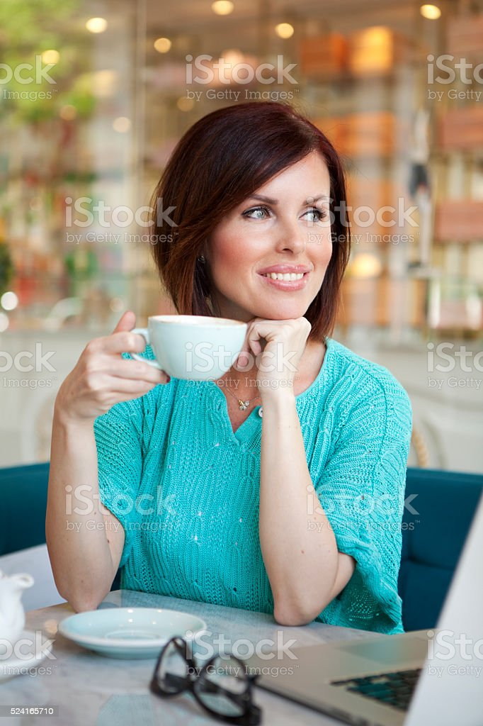 Working at cafe. stock photo