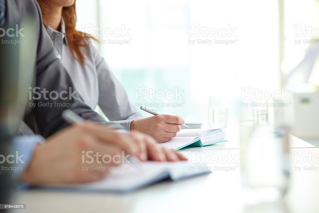 Working at conference stock photo