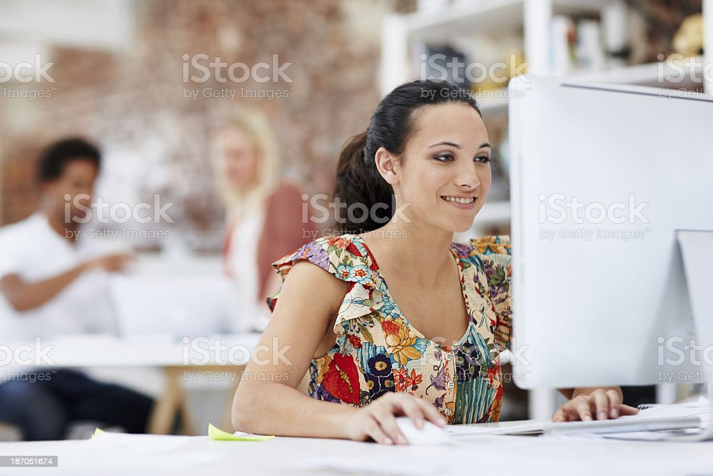 Working at her dream job royalty-free stock photo
