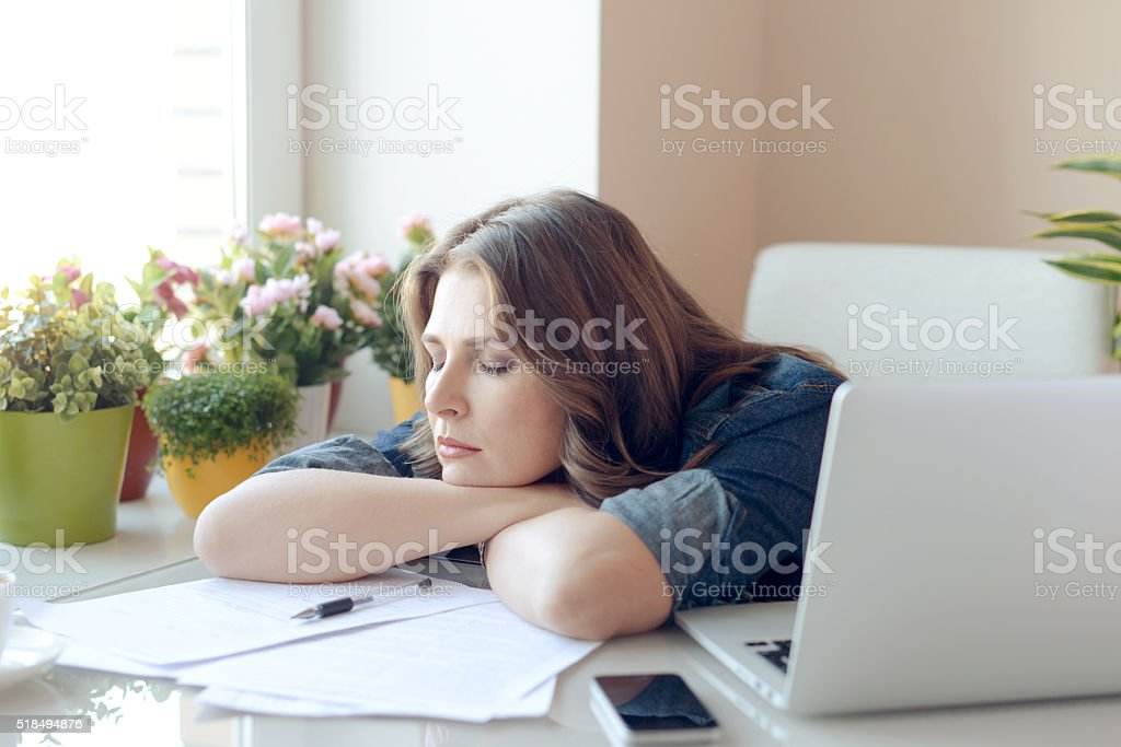 working at home stock photo