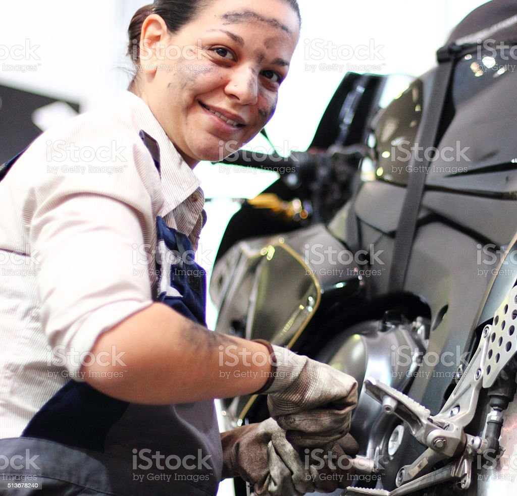 Working at motorcycles stock photo