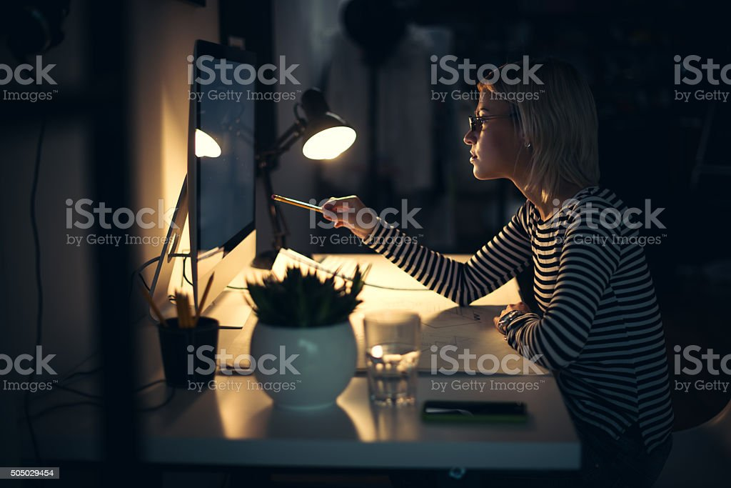 Working at night stock photo