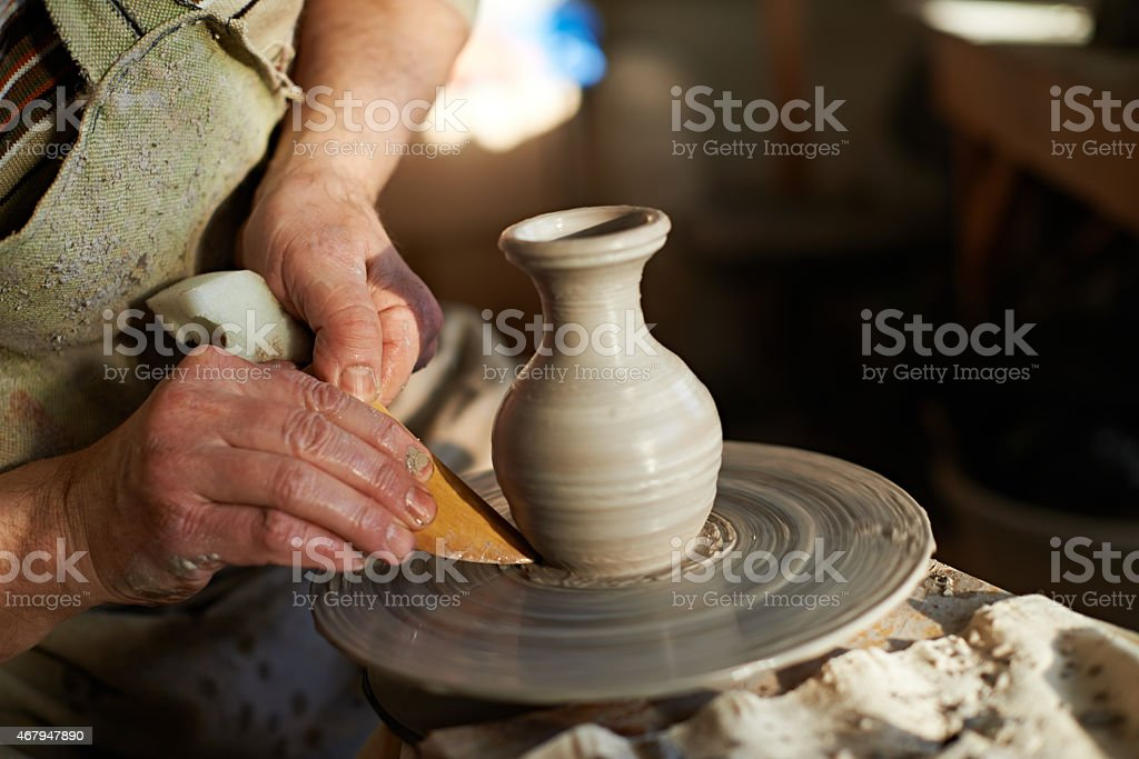 Working at pottery stock photo