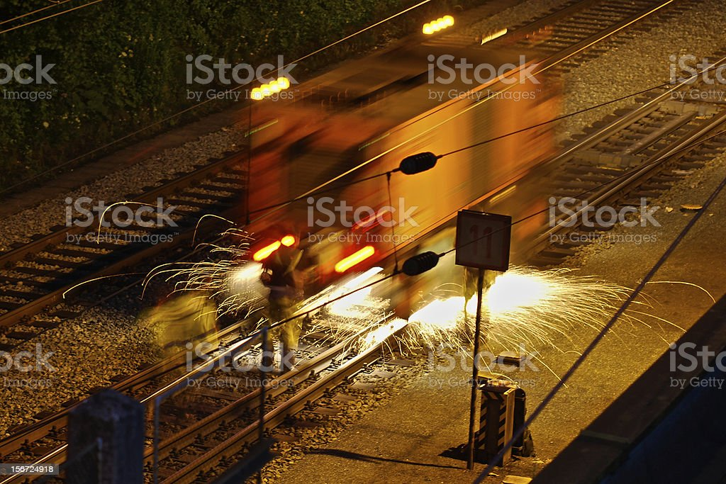 working at rails royalty-free stock photo