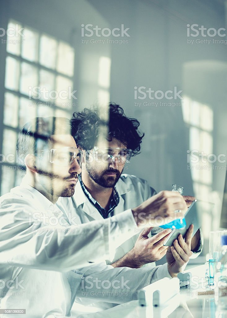 Working at science lab stock photo