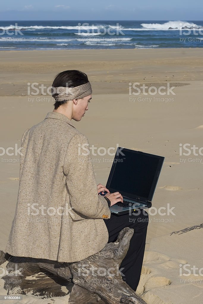 Working At The Beach royalty-free stock photo