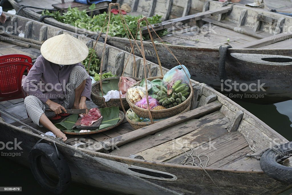 Working at the Floating Market stock photo