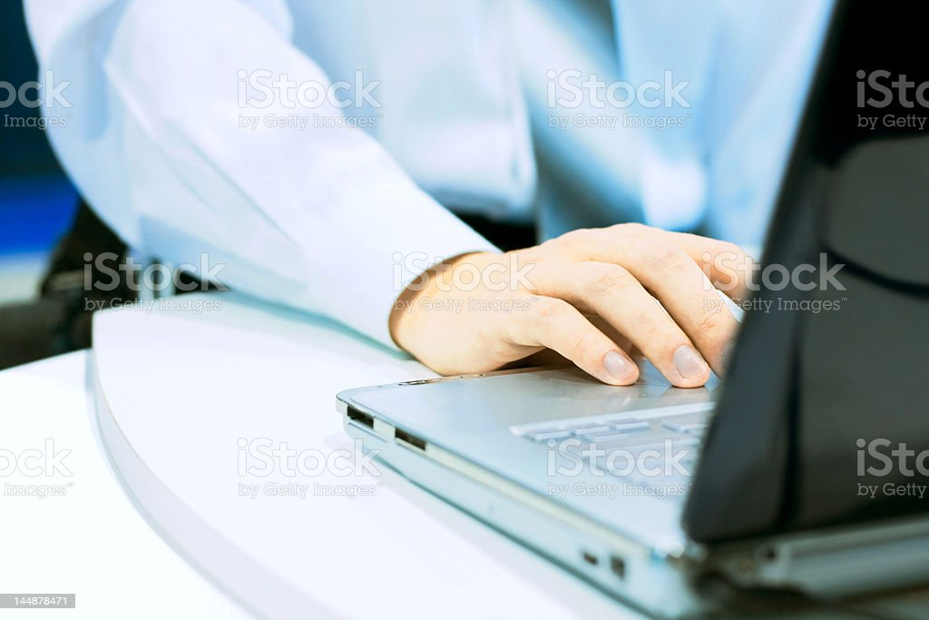 Working at the laptop royalty-free stock photo