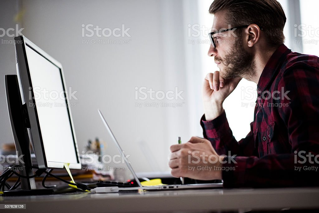 Working at the office stock photo