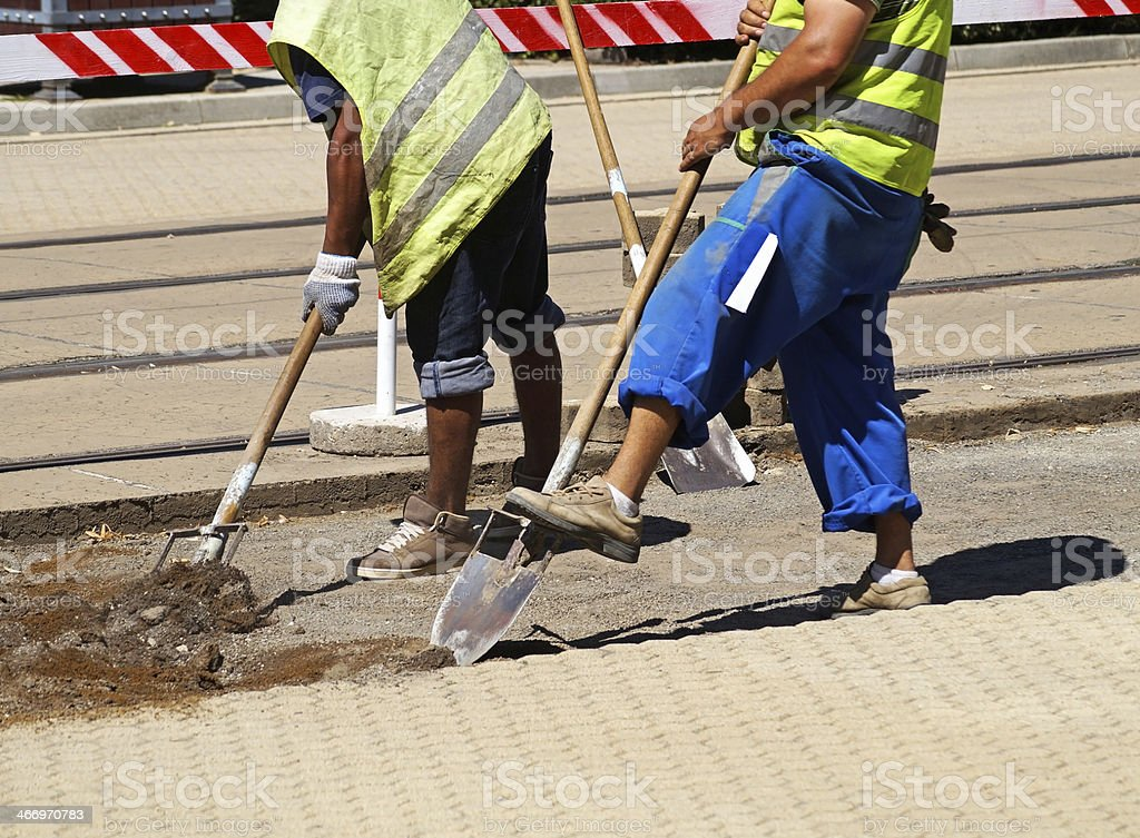 working at the road construction royalty-free stock photo