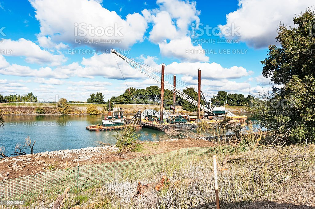 Working Barge on Sacramento River stock photo