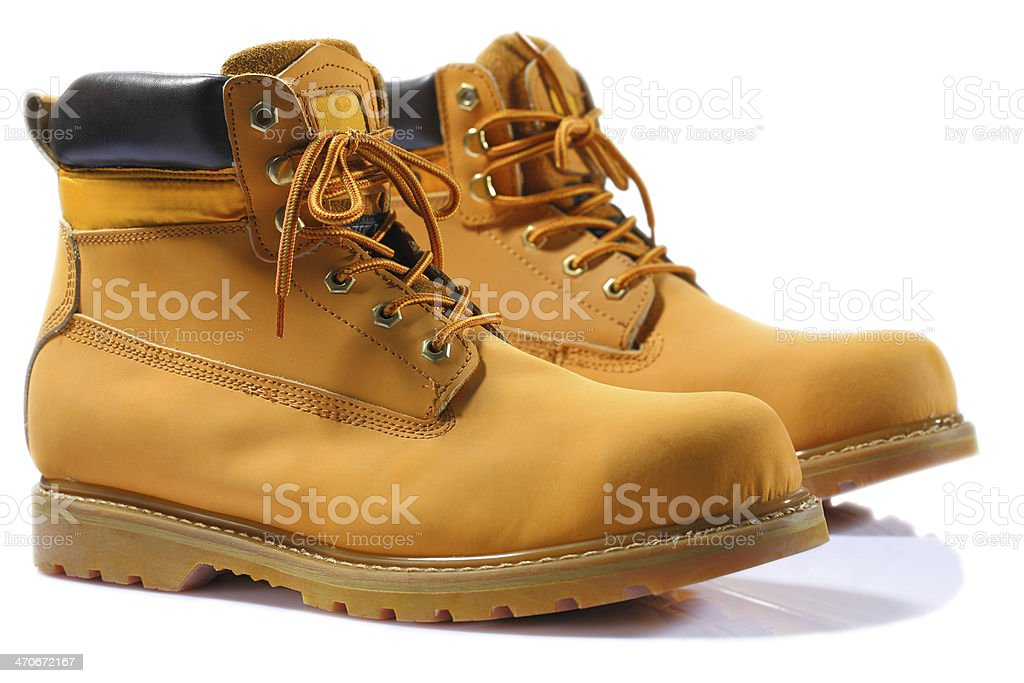 working boots isolated stock photo