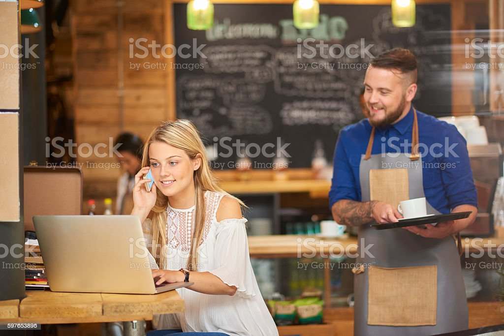 working break at the coffee shop stock photo