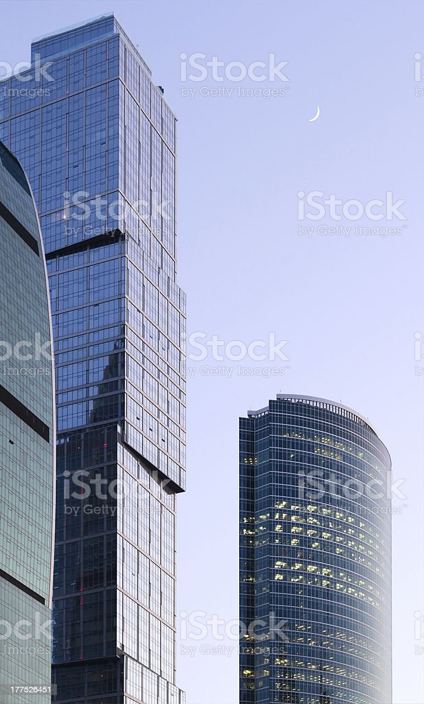 working business buildings under moon royalty-free stock photo