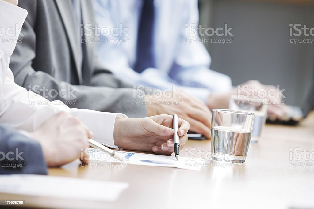 A working business meeting with active participation stock photo