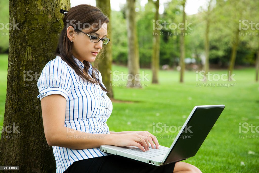 Working caucasian businesswoman royalty-free stock photo