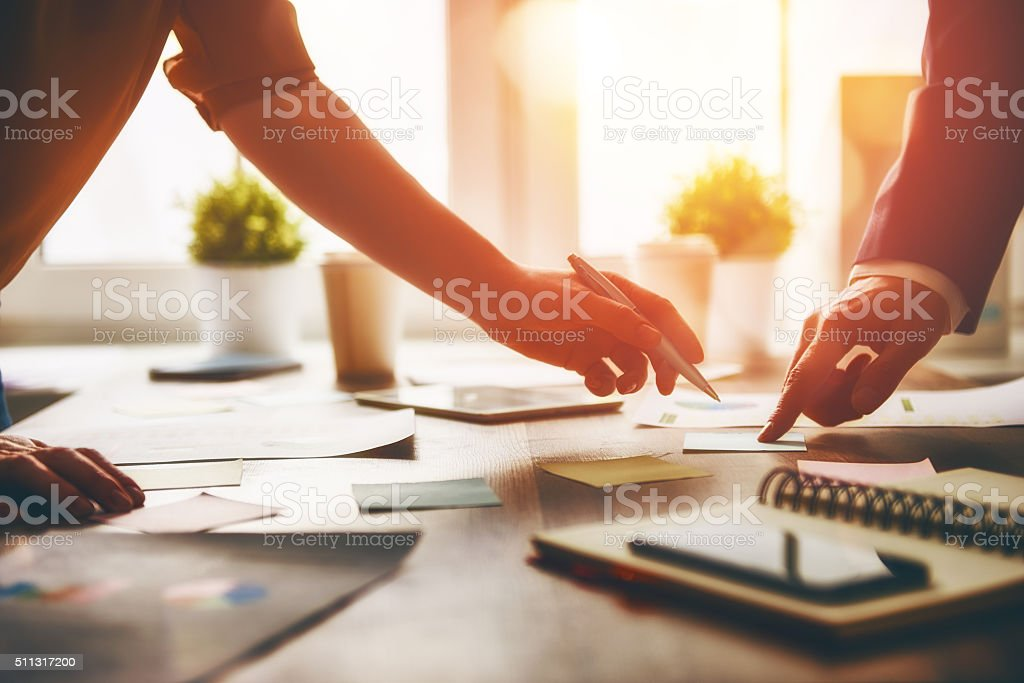 working day in office. stock photo