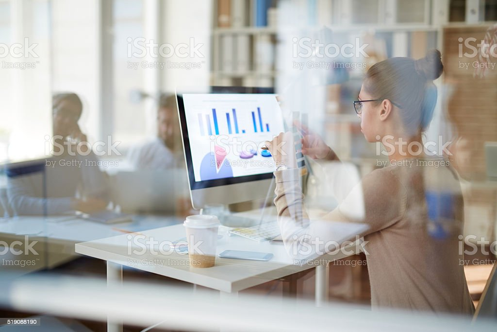 Working day in office stock photo