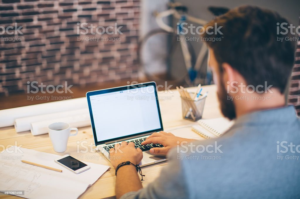 Working diligently. stock photo
