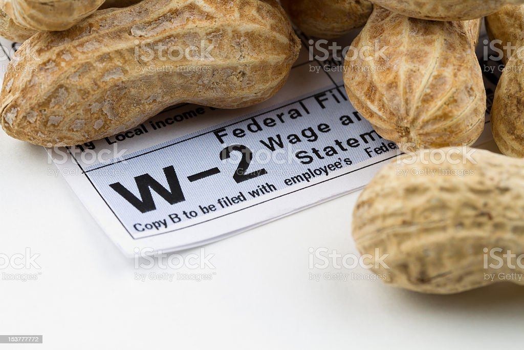 Working for peanuts stock photo