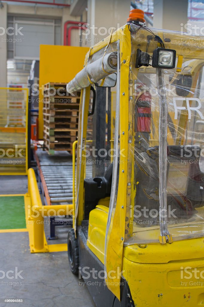 Working Forklift In Factory stock photo