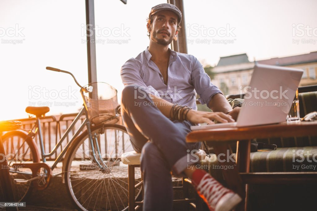 Working from a cafe stock photo