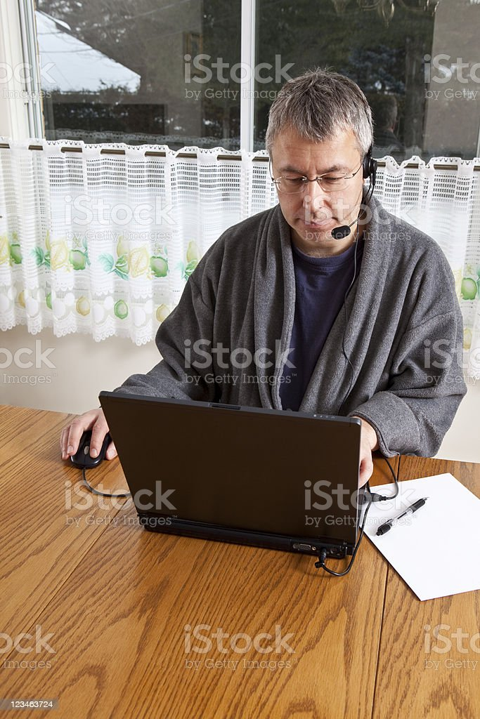 Working from Home in PJs stock photo