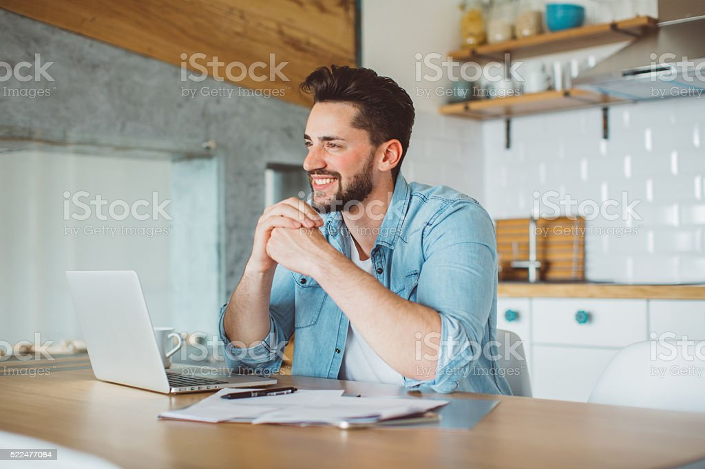 Working from home is a breeze stock photo