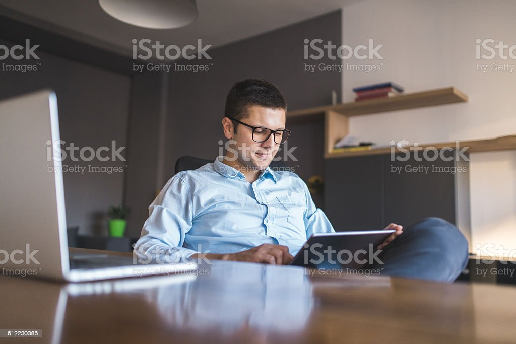 Working from my home stock photo