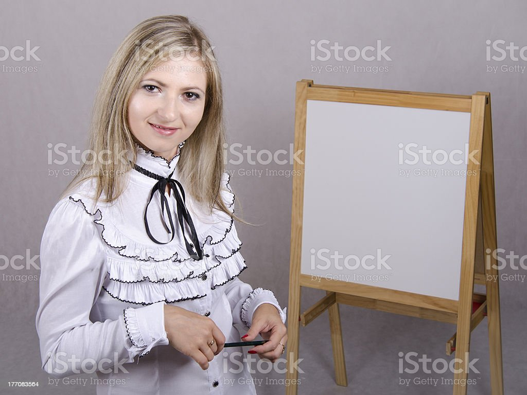 Working girl holds presentation royalty-free stock photo