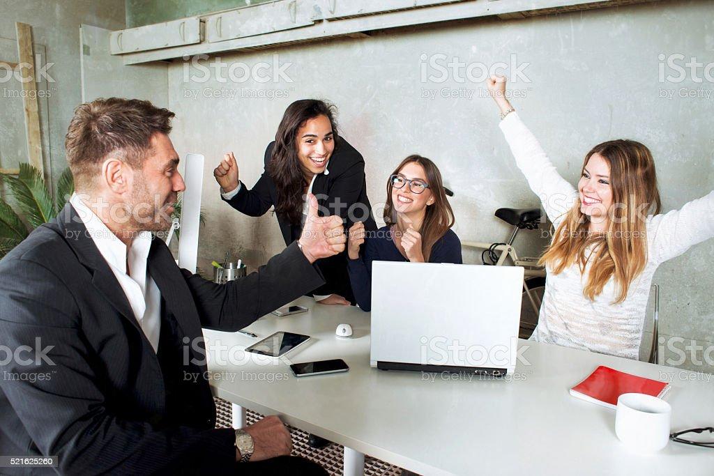 Working Group Reaching Target stock photo