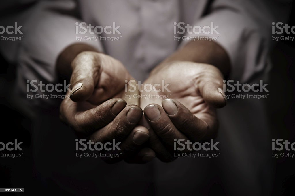 working hands of old man stock photo