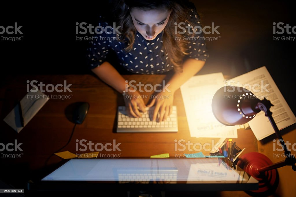 Working hard to make things happen stock photo