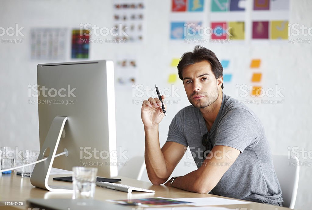 Working hard to produce creative results royalty-free stock photo