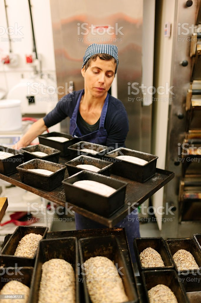 Working in a bakery stock photo