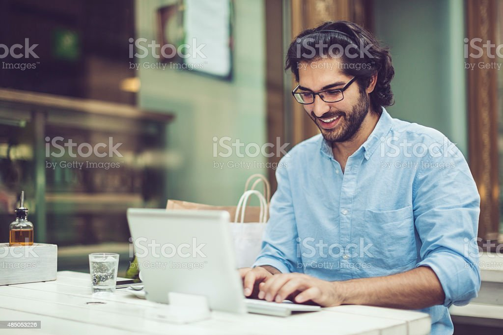 Working in a coffee shop stock photo