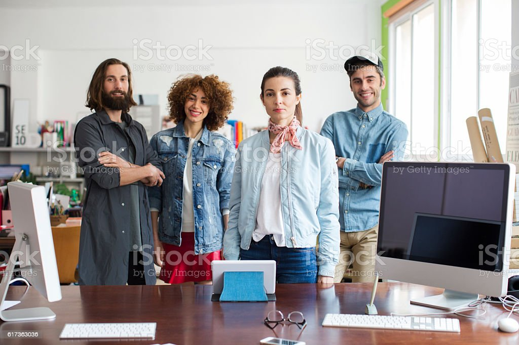 Working in a crative small business office stock photo