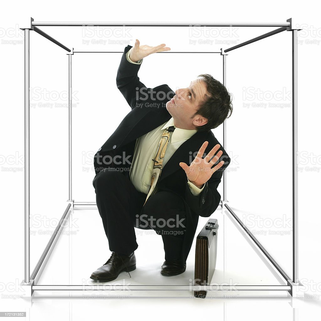 Working in a cubicule stock photo