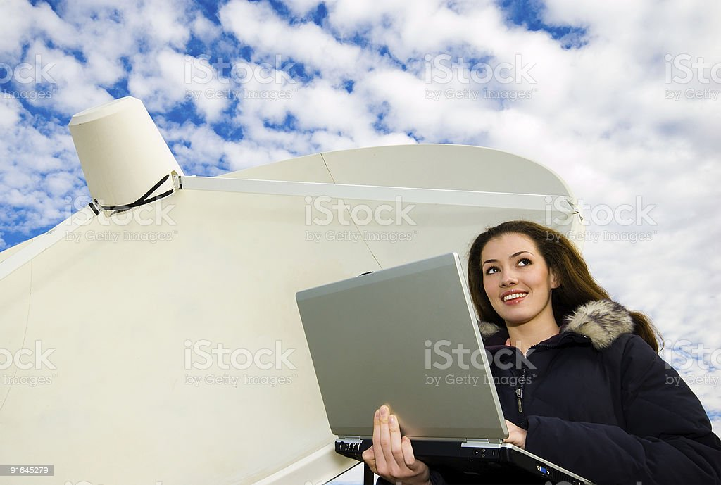 working in a laptop royalty-free stock photo