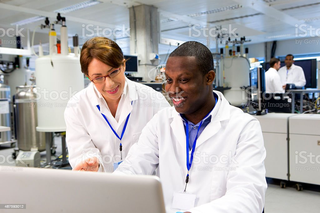 Working in a  Specialist Scientific Laboratory stock photo