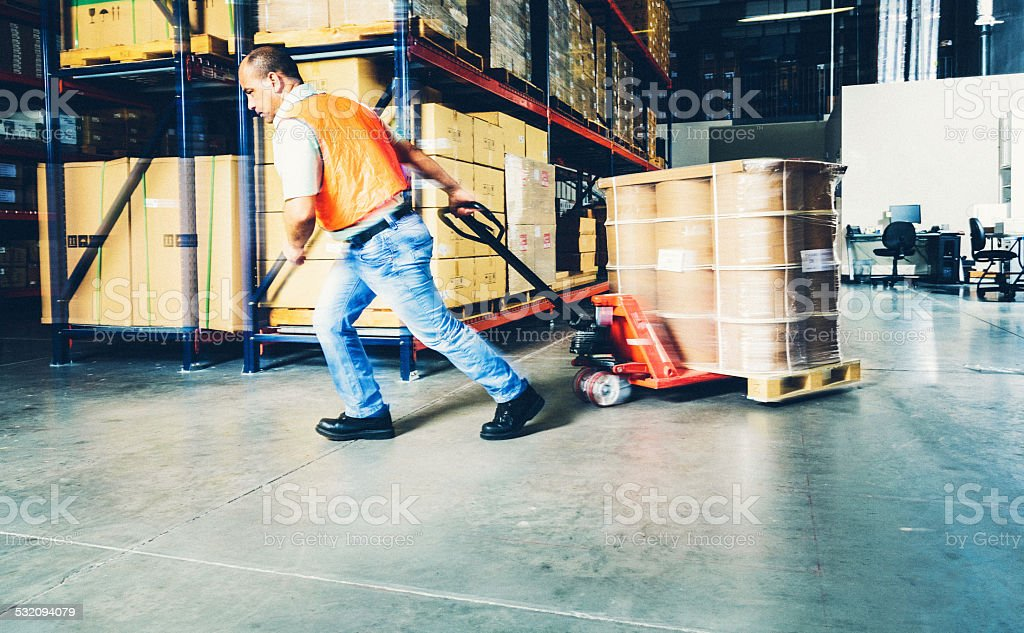 Working in a warehouse stock photo