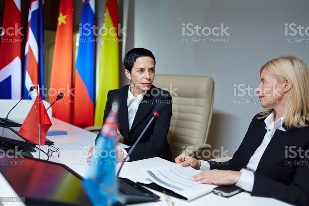 Working in boardroom stock photo