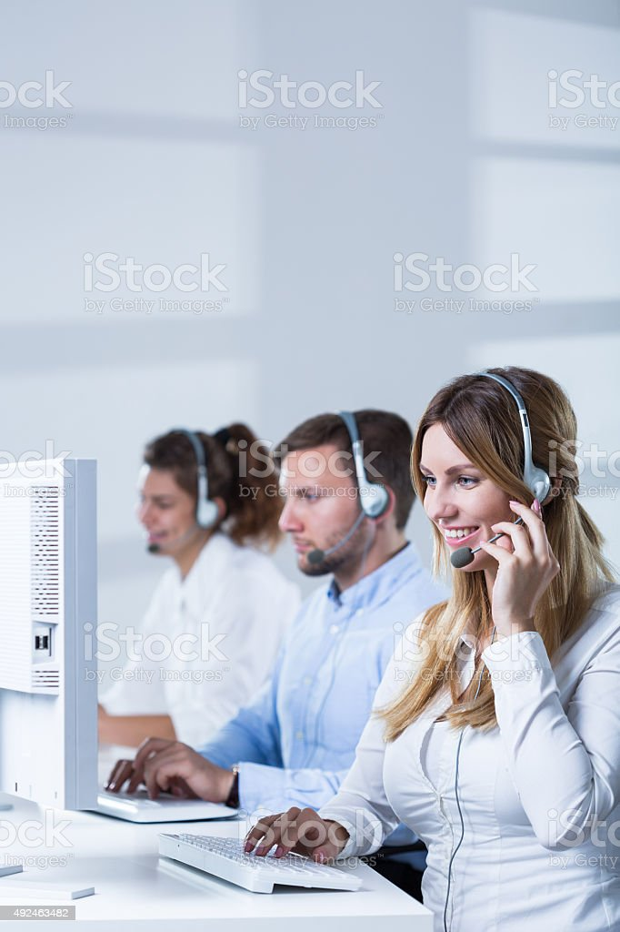 Working in call center stock photo