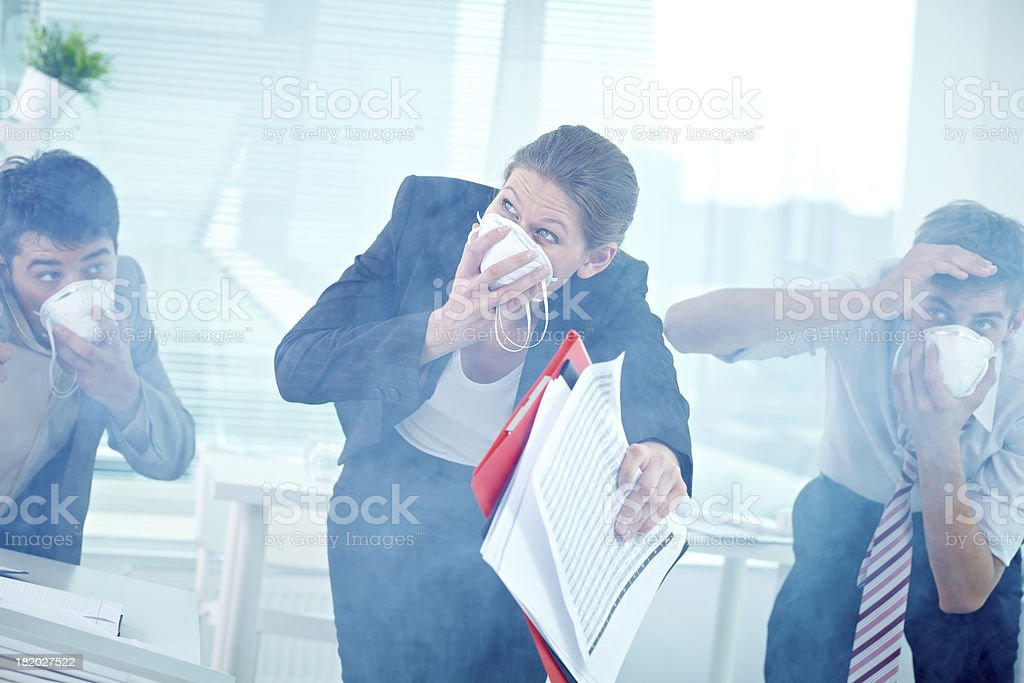 Working in difficult conditions stock photo