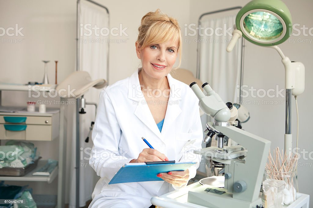 Working in laboratory for In Vitro Fertilisation stock photo