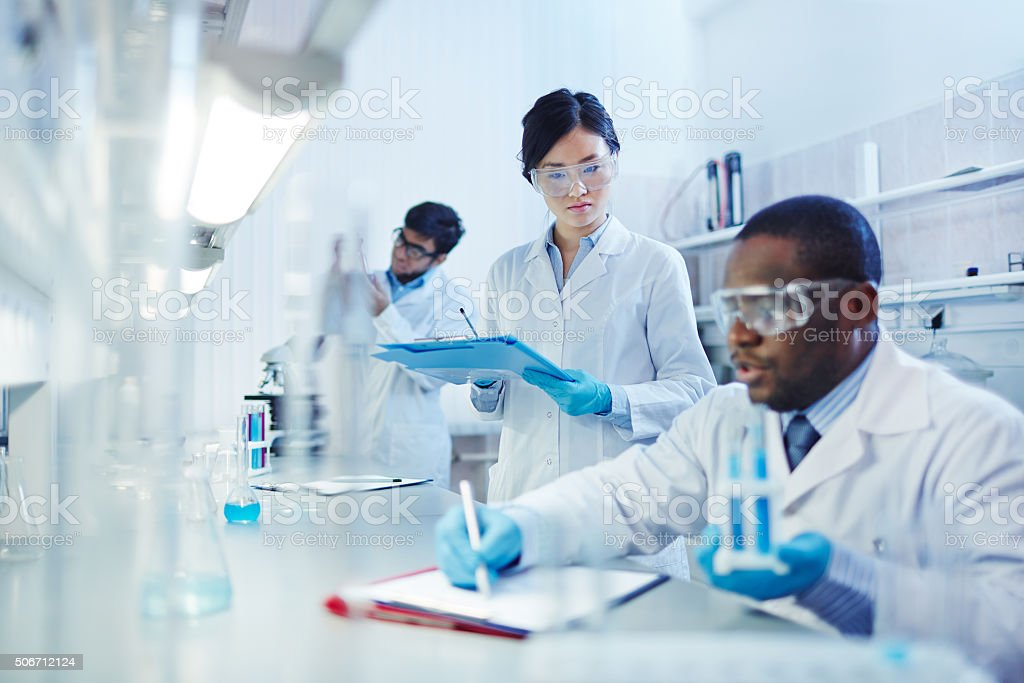 Working in laboratory stock photo